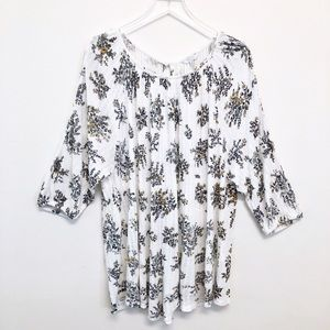 Lucky Brand | Linen Blend Floral Pull Over Tunic